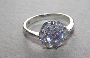 One Of A Kind White Sapphire Engagement Ring Free Shipping
