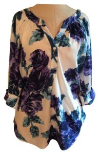 Gibson Long Silky Tuck In Wear With Shorts Colorful Top white, purple, teal