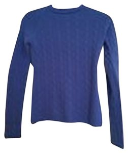 Ralph Lauren Black Label Blue Cashmere Knit Cableknit Crewneck Cable Knit Sweater
