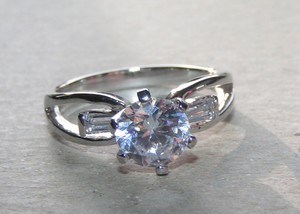 Baguette & Round Cut White Topaz Fashion Ring Free Shipping