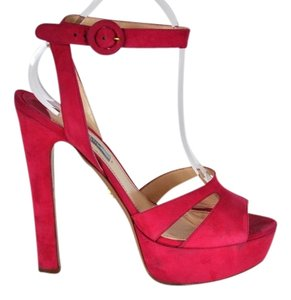 Prada Suede Sandals Size 40 Hot Pink Platforms