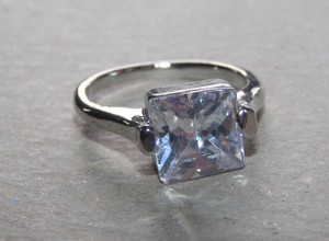 Hard To Find Size White Topaz Engagement Ring Free Shipping