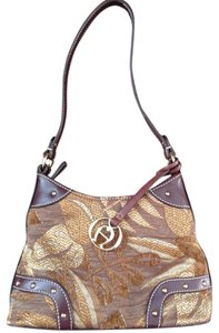 Etienne Aigner Fabric Tapestry Leather Hobo Bag