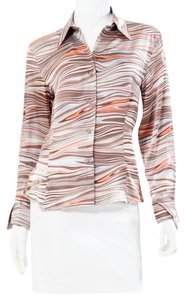 Louis Feraud Retro Multi Color Marble Button Down Shirt Multicolor