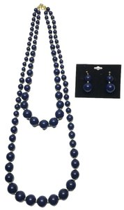 Vintage Navy Graduated Bead Necklaces (2) & Earring ( Pierced & Non-Pierced Convertible Kit ) Set [ Roxanne Anjou Closet ]