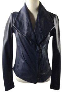 Vince Leather Navy Leather Draped Collar Navy Blue Leather Jacket