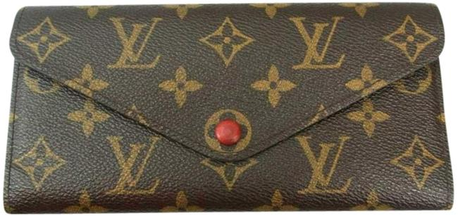 Item - Brown Monogram and Red Canvas Leather Josphine Organizer Wallet