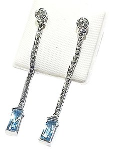 Di MODOLO Di MODOLO 18 Karat White Gold Earrings With Diamonds & Blue Topaz