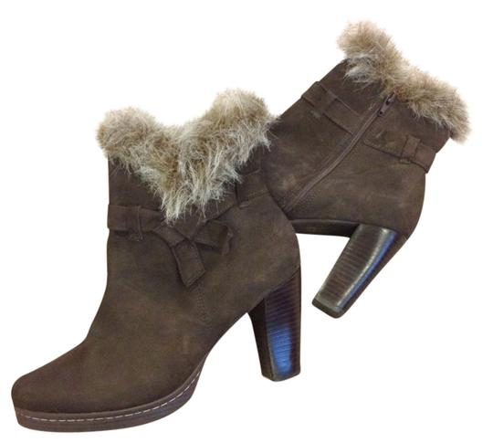 """Klub Kico Designer Suede Faux Fur Neutral Classic Trendy Casual Weekend Fall Heel Ankle Stacked Heel Brazil 10 Trim Style 4"""" Brown Boots"""