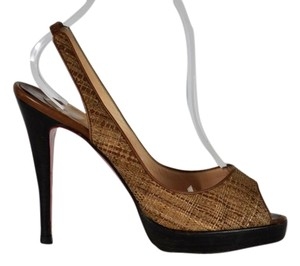 Christian Louboutin Woven Peep Toe Pumps Stacked Heel Brown Sandals