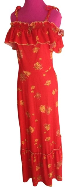 Red Maxi Dress by Other Rare Floral Maxi Off Shoulder Versatile Trendy Chic Ruffle Weekend Wedding Prom Party Date Night Fun 70's England Cap