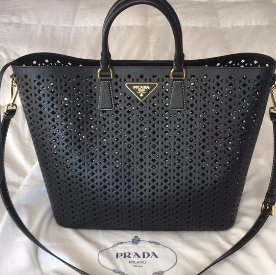 1a8a300b5427 Prada Perforated Convertible Black Saffiano Leather Tote - Tradesy