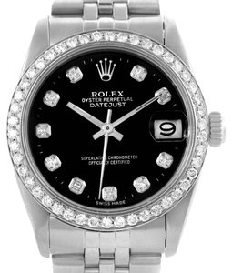 Rolex Rolex Midsize Datejust Stainless Steel Black Diamond Dial Watch 68240