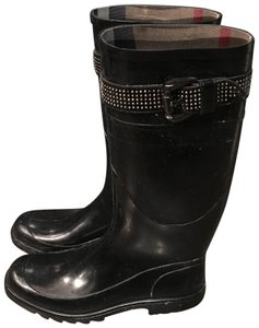 Burberry Rubber Studded Nova Check Rain Black Boots