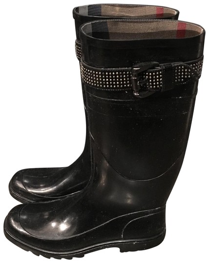 Burberry Rubber Studded Nova Check Rain Black Boots Image 0