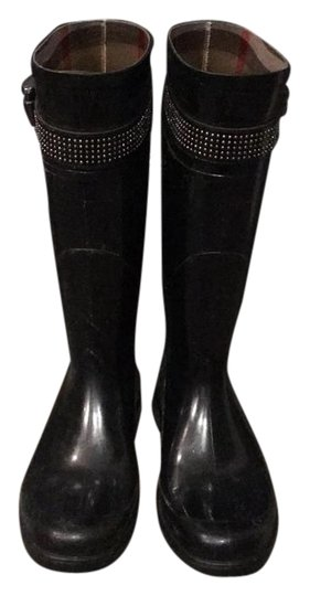 Burberry Rubber Studded Nova Check Rain Black Boots Image 1