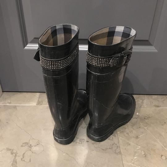 Burberry Rubber Studded Nova Check Rain Black Boots Image 3