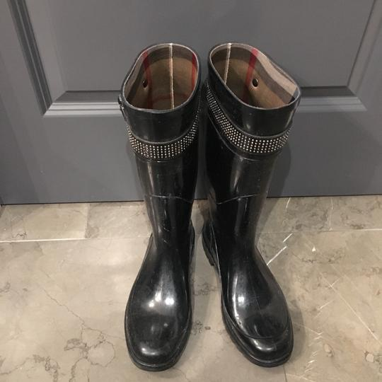 Burberry Rubber Studded Nova Check Rain Black Boots Image 7
