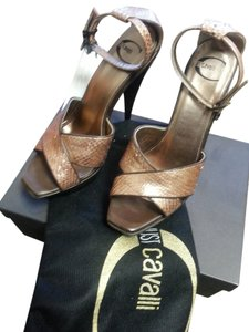 Just Cavalli Platform Italy Gold Python Pumps