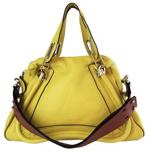 Chloé Leather Shoudler Paraty Satchel in yellow
