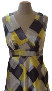 INC International Concepts Top Geometric Print Yellow, Silver, Black