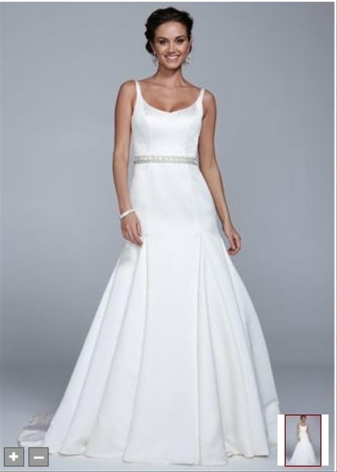 David\'s Bridal Off White Satin Trumpet Gown with Button Back Detail ...