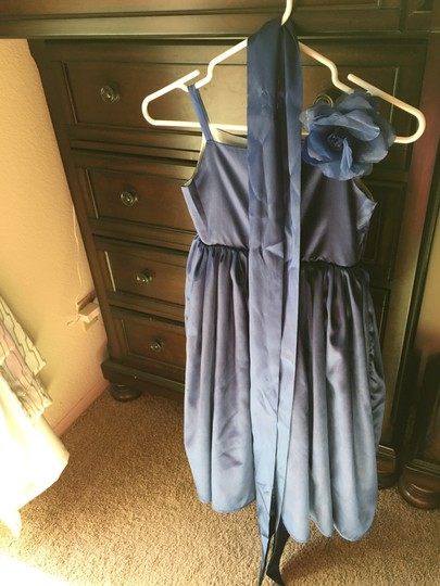 Navy Flower Girl Taffeta Dress Image 2