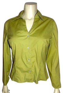 Ann Taylor Size 8 Summersale Button Down Shirt GREEN
