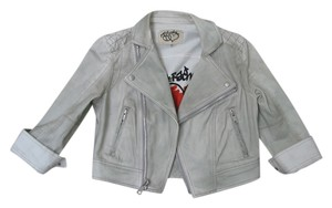 Rachel Roy Silver Grey Graffiti Motorcycle Jacket