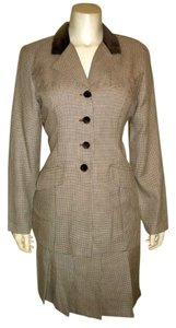 Moda International WOMENS VINTAGE MODA INTERNATIONAL SKIRT SUIT SIZE 10 PETITE BROWN BEIGE JACKET P454