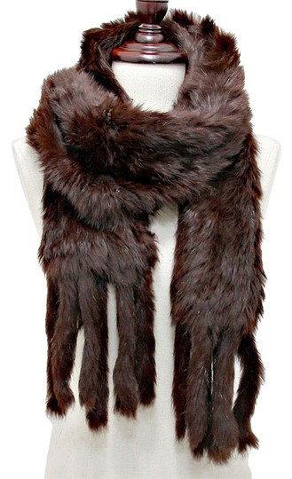 Other Genuine Fur Scarf Wrap Chocolate Brown Neckwarmer Image 1