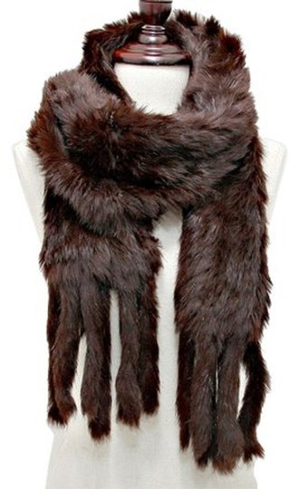 Other Genuine Fur Scarf Wrap Chocolate Brown Neckwarmer Image 2