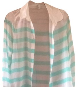 Forever 21 Button Down Shirt White, Turquoise