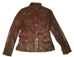 Pelle Studio Belted Scuba Brown Leather Jacket