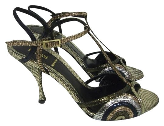 Fendi Evening Strappy Disco Black/ Metallic Sandals
