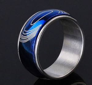 Blue Stainless Steel Spinner Ring Free Shipping