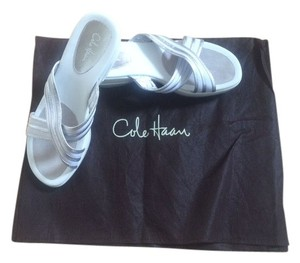 Cole Haan White with silver trim Mules