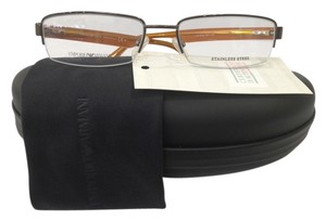 Emporio Armani New Emporio Armani EA9776 Color 0C1 Brown Metal Semi Rim Eyeglasses Frame Italy