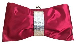 Steve Madden Satin Bow Tie Art Deco Red Clutch
