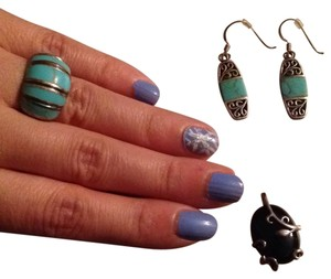 Sterling silver ring & earring & charm