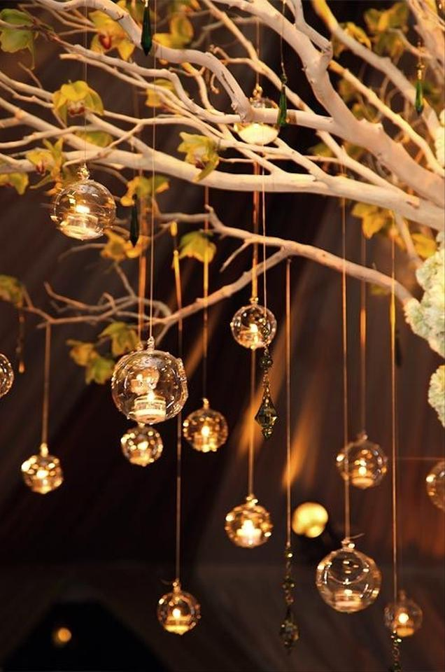 Hanging tea light bubble candle holders including led