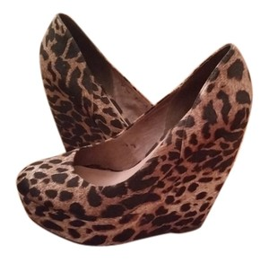 ALDO Animal Print Date Night Sexy Black and brown Wedges