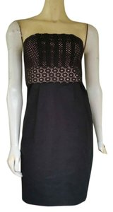 Ann Taylor LOFT short dress Black Strapless Pockets Lace on Tradesy