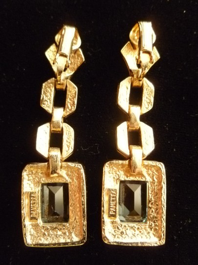 "Panetta Panetta Rhinestone & ""Blue Topaz"" Earrings"