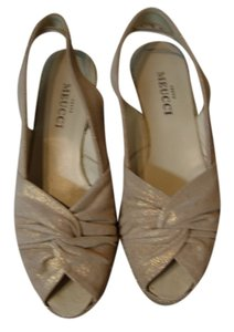Sesto Meucci of Florence Leather Gold-Beige Leather Mules