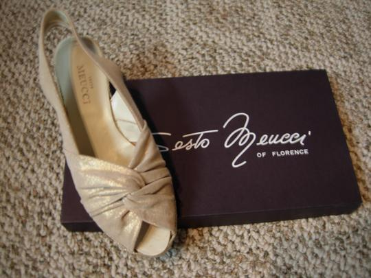 Sesto Meucci of Florence Gold-Beige Leather Mules
