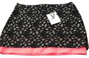 Diane von Furstenberg Mini Skirt Black, white, and pink