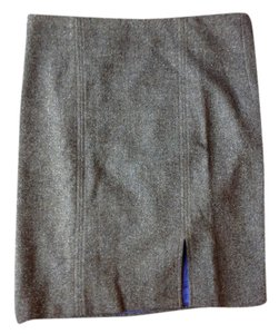Vince Wool Print Herringbone Skirt Brown