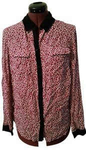 Ann Taylor LOFT Red Burgandy Blouse Button Down Shirt Red, Burgundy, White