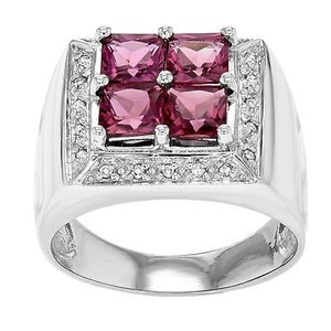 14k White Gold Cttw Pink Sapphires 0.10 Cttw Diamonds Womens Ring